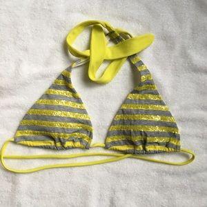 Victoria's Secret gray yellow sequin bikini top S